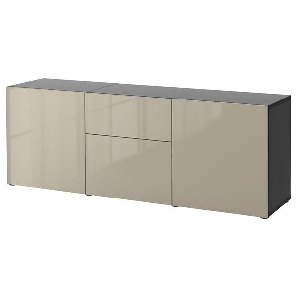 BESTÅ Storage combination with drawers, black-brown/Selsviken high-gloss/beige, 180x42x65 cm