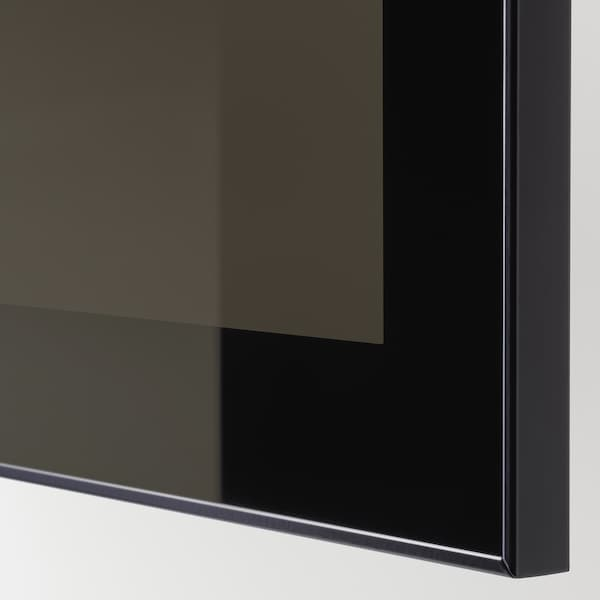BESTÅ Storage combination with drawers, black-brown/Selsviken high-gloss/black smoked glass, 180x42x65 cm