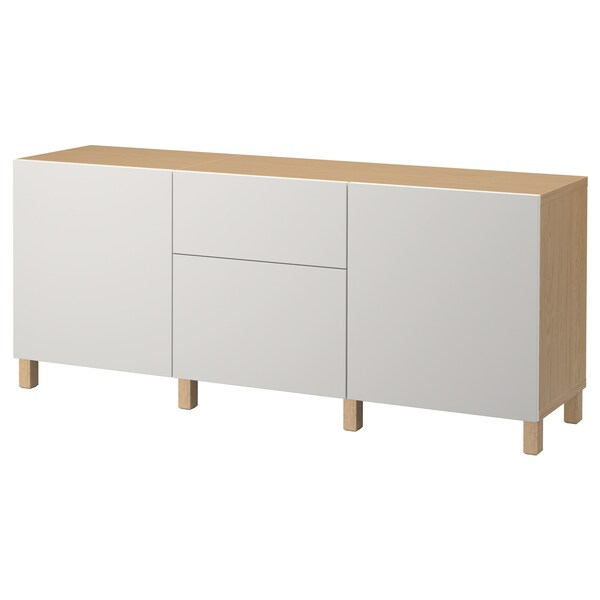 BESTÅ Storage combination with drawers, oak effect/Lappviken light grey, 180x40x74 cm