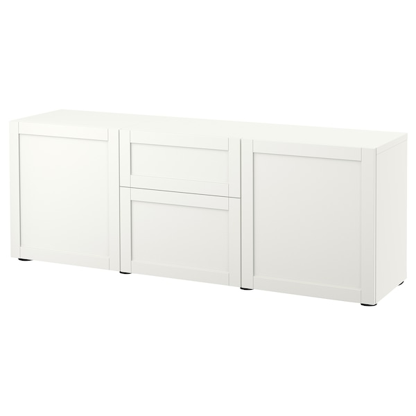 BESTÅ Storage combination with drawers, white/Hanviken white, 180x42x65 cm