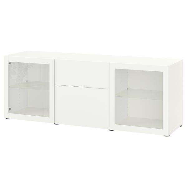 BESTÅ Storage combination with drawers, white Lappviken/Sindvik white clear glass, 180x42x65 cm