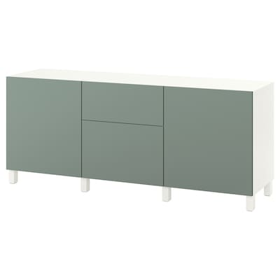 BESTÅ Storage combination with drawers, white/Notviken/Stubbarp grey-green, 180x42x74 cm