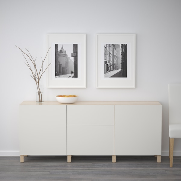 BESTÅ Storage combination with drawers, white stained oak effect/Lappviken light grey, 180x42x65 cm