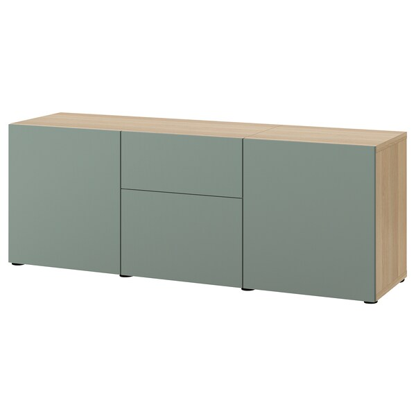 BESTÅ Storage combination with drawers, white stained oak effect/Notviken grey-green, 180x42x65 cm