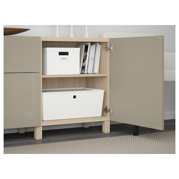 BESTÅ Storage combination with drawers, white stained oak effect/Selsviken high-gloss/beige, 180x42x65 cm
