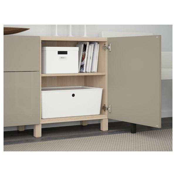 BESTÅ Storage combination with drawers, white stained oak effect/Selsviken/Stubbarp high-gloss/beige, 180x42x74 cm