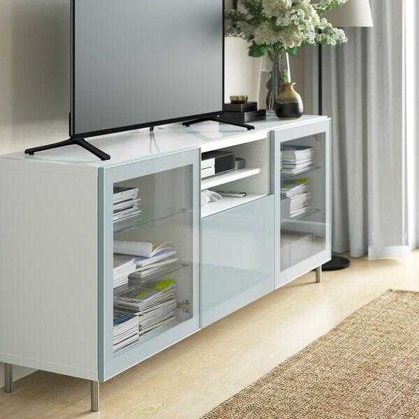 BESTÅ Top panel for TV, glass white, 180x40 cm