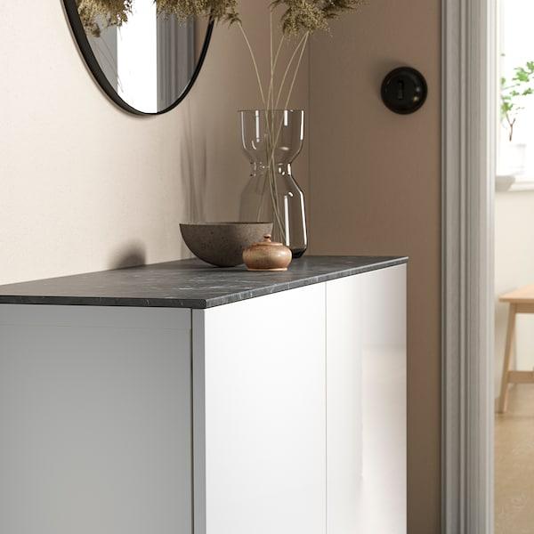 BESTÅ Top panel, marble effect/black, 120x42 cm