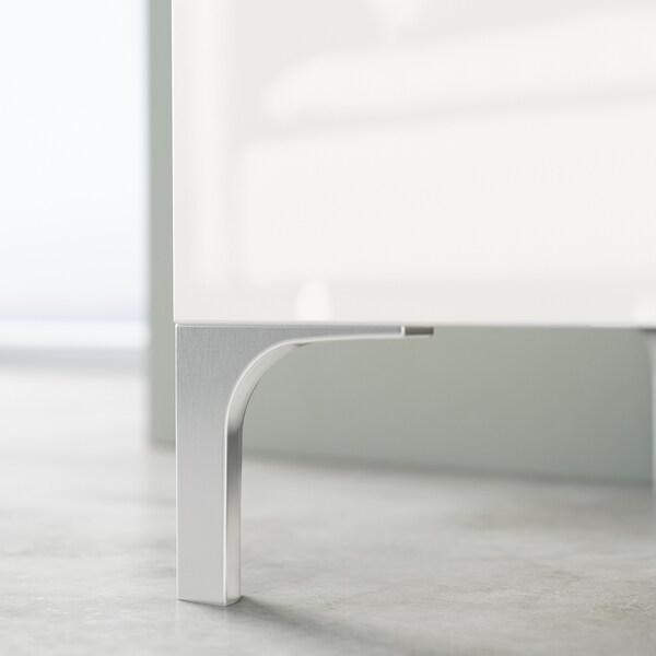 BESTÅ TV bench, white stained oak effect/Selsviken/Nannarp high-gloss/white frosted glass, 180x42x48 cm