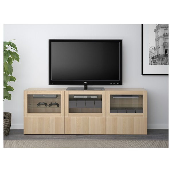 BESTÅ TV bench with doors and drawers Lappviken/Sindvik white stained oak eff clear glass 180 cm 40 cm 64 cm 50 kg