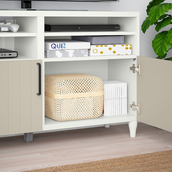 BESTÅ TV bench with doors, white/Sutterviken/Kabbarp grey-beige, 120x42x74 cm