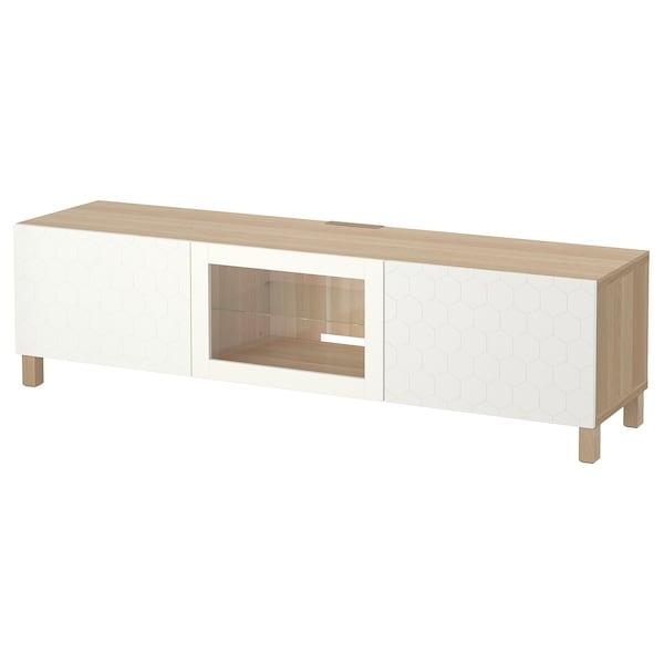 BESTÅ TV bench with drawers and door white stained oak effect/Vassviken/Stubbarp white clear glass 180 cm 40 cm 48 cm 50 kg