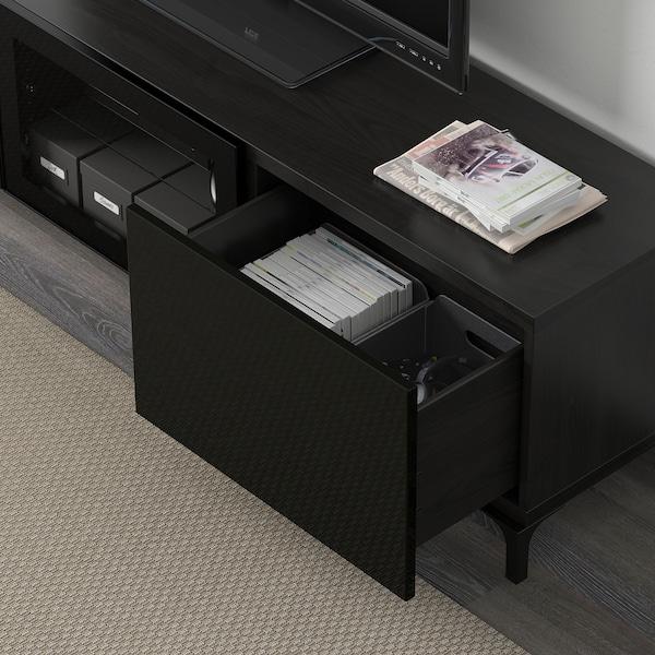 BESTÅ TV bench with drawers and door black-brown/Selsviken high-gloss/black clear glass 180 cm 40 cm 48 cm 50 kg