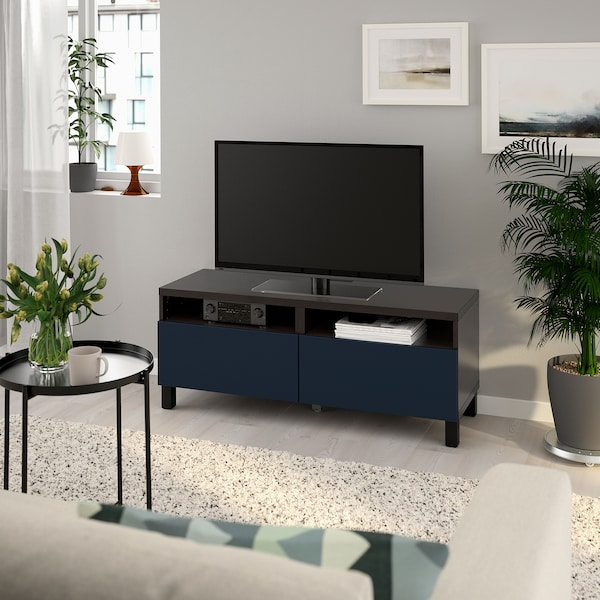BESTÅ TV bench with drawers, black-brown/Notviken/Stubbarp blue, 120x42x48 cm