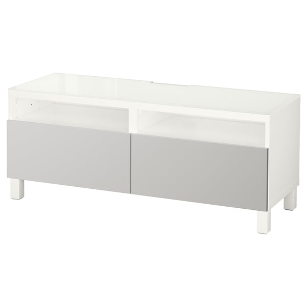 BESTÅ TV bench with drawers white/Lappviken light grey 120 cm 40 cm 48 cm 50 kg