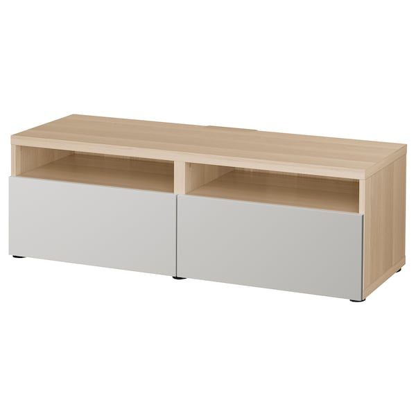 BESTÅ TV bench with drawers, white stained oak effect/Lappviken light grey, 120x42x39 cm