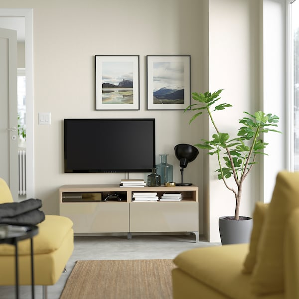 BESTÅ TV bench with drawers, white stained oak effect/Selsviken high-gloss/beige, 120x42x48 cm