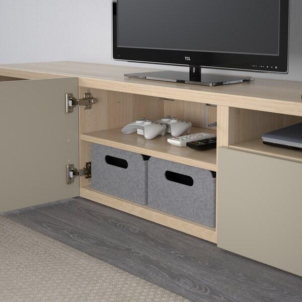 BESTÅ TV bench white stained oak effect/Selsviken high-gloss/beige 180 cm 42 cm 39 cm 50 kg