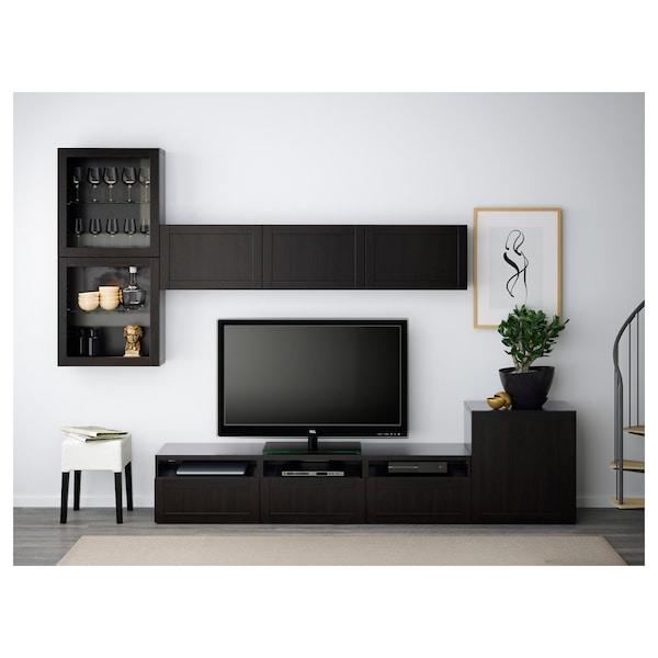 BESTÅ TV storage combination/glass doors, black-brown/Hanviken black-brown clear glass, 300x42x211 cm