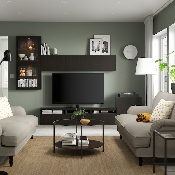 BESTÅ TV storage combination/glass doors, black-brown/Lappviken black-brown clear glass, 300x42x211 cm