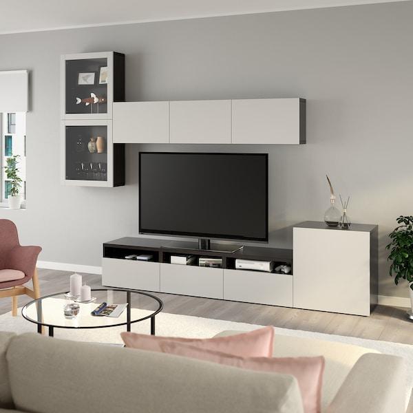 BESTÅ TV storage combination/glass doors, black-brown/Lappviken light grey clear glass, 300x42x211 cm