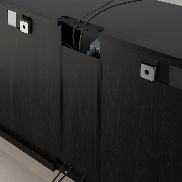BESTÅ TV storage combination/glass doors, black-brown/Lappviken light grey clear glass, 300x40x230 cm