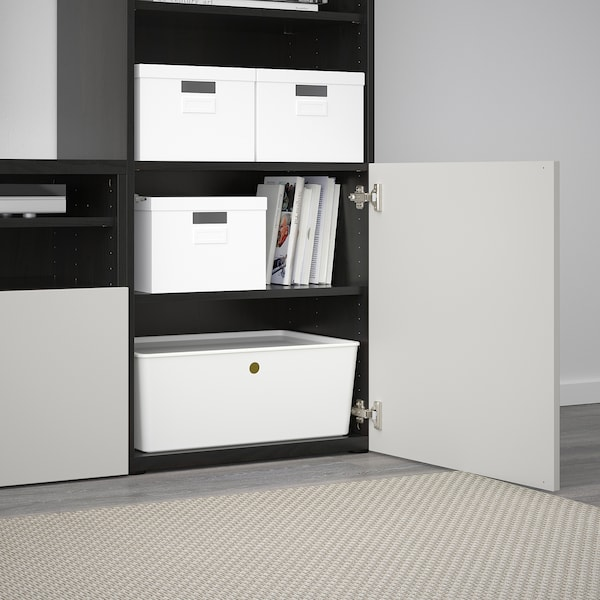 BESTÅ TV storage combination/glass doors, black-brown/Lappviken light grey clear glass, 300x40x230 cm