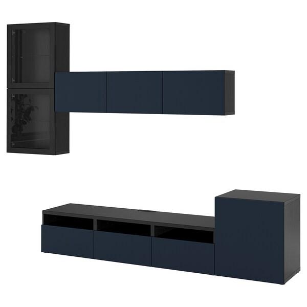 BESTÅ TV storage combination/glass doors, black-brown/Notviken blue clear glass, 300x42x211 cm