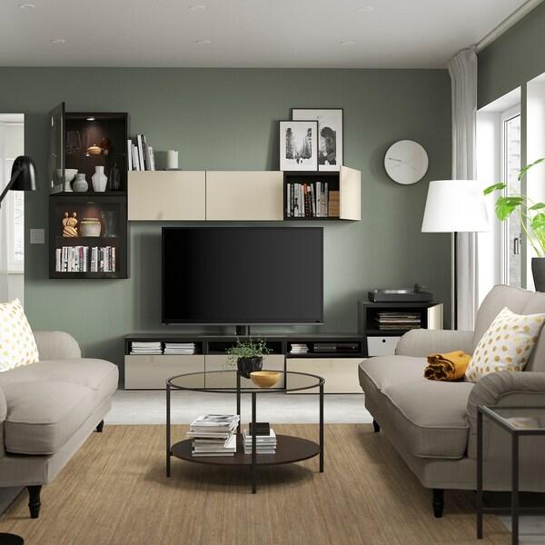 BESTÅ TV storage combination/glass doors, black-brown/Selsviken high-gloss/beige clear glass, 300x42x211 cm