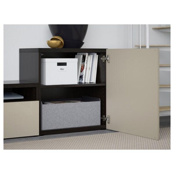 BESTÅ TV storage combination/glass doors, black-brown/Selsviken high-gloss/beige smoked glass, 300x42x211 cm