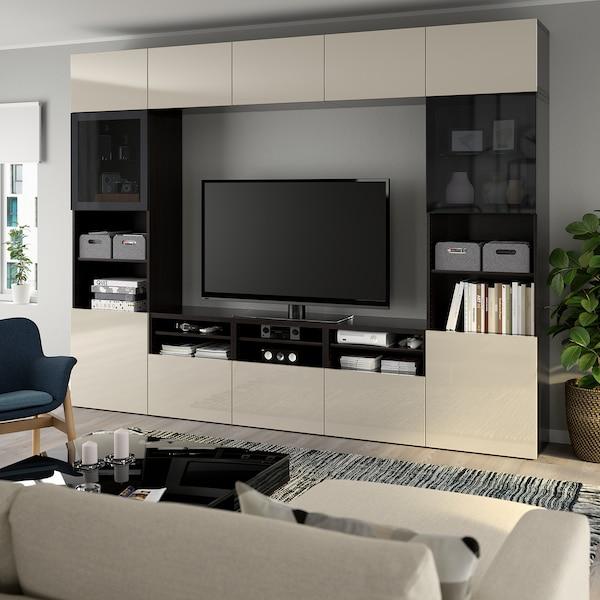 BESTÅ TV storage combination/glass doors, black-brown/Selsviken high-gloss/beige smoked glass, 300x40x230 cm