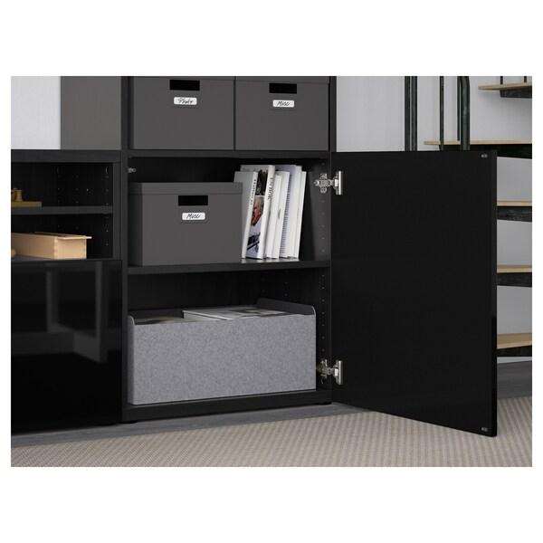 BESTÅ TV storage combination/glass doors, black-brown/Selsviken high-gloss/black clear glass, 300x40x230 cm