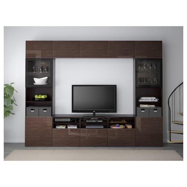 BESTÅ TV storage combination/glass doors, black-brown/Selsviken high-gloss/brown clear glass, 300x40x230 cm