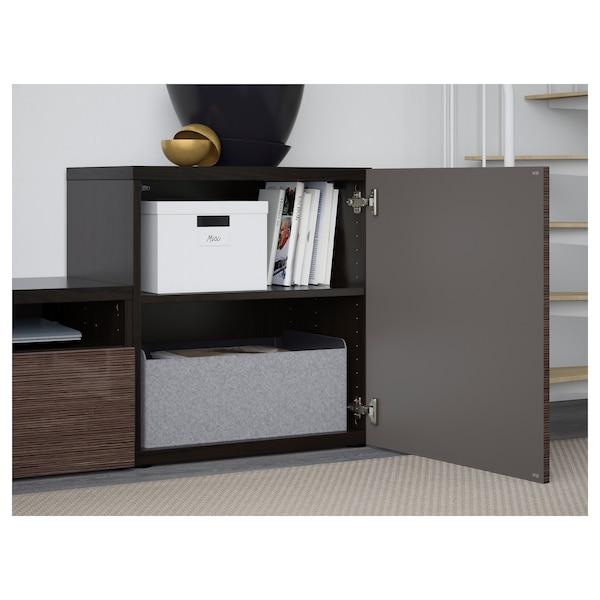 BESTÅ TV storage combination/glass doors, black-brown/Selsviken high-gloss/brown clear glass, 300x42x211 cm