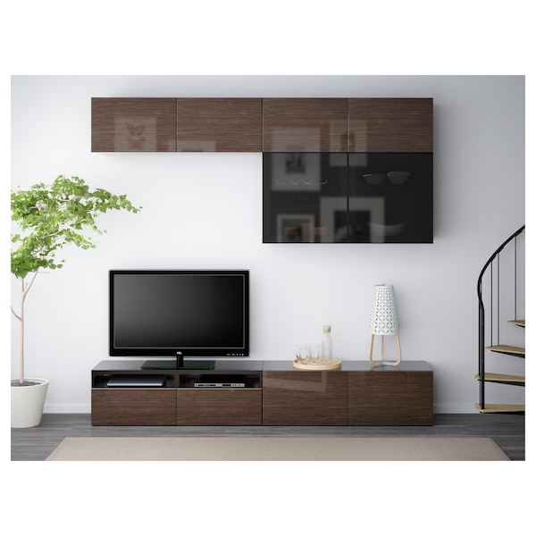 BESTÅ TV storage combination/glass doors, black-brown/Selsviken high-gloss/brown smoked glass, 240x40x230 cm