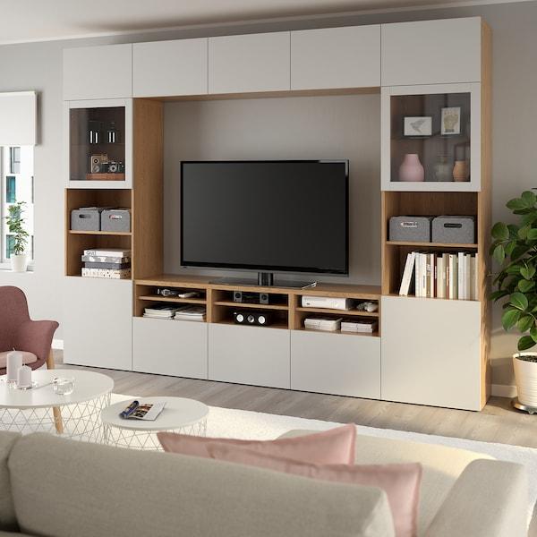 BESTÅ TV storage combination/glass doors, oak effect/Lappviken light grey clear glass, 300x40x230 cm