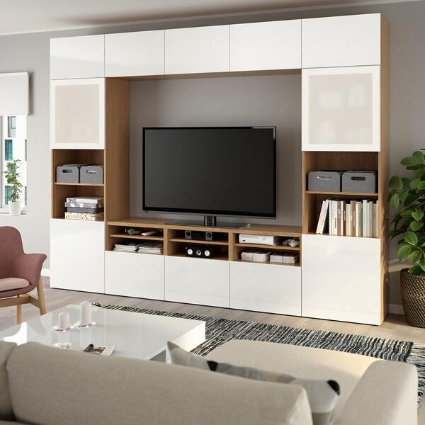 BESTÅ TV storage combination/glass doors, oak effect/Selsviken high-gloss/white frosted glass, 300x40x230 cm