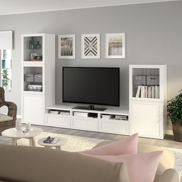 BESTÅ TV storage combination/glass doors, white/Hanviken white clear glass, 300x42x193 cm