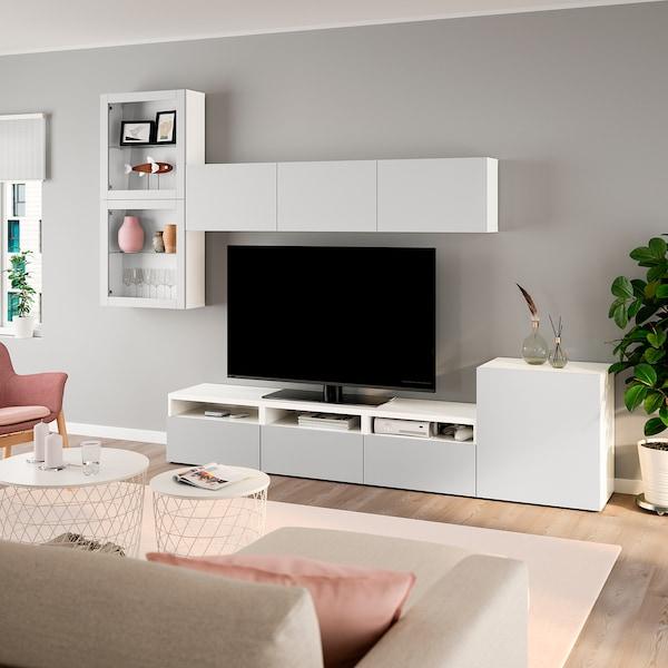 BESTÅ TV storage combination/glass doors, white/Lappviken light grey clear glass, 300x42x211 cm