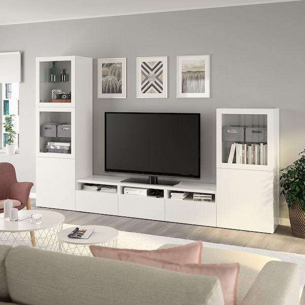 BESTÅ TV storage combination/glass doors, white/Lappviken white clear glass, 300x42x193 cm