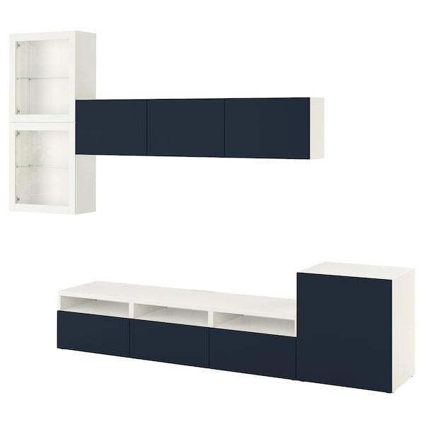 BESTÅ TV storage combination/glass doors, white/Notviken blue clear glass, 300x42x211 cm