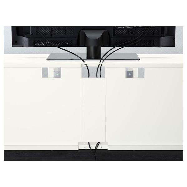 BESTÅ TV storage combination/glass doors, white/Selsviken high-gloss/beige clear glass, 300x40x230 cm
