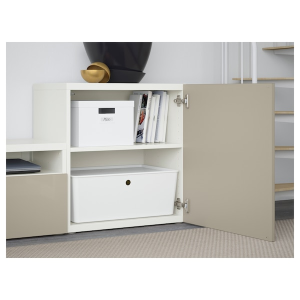 BESTÅ TV storage combination/glass doors, white/Selsviken high-gloss/beige frosted glass, 300x42x211 cm