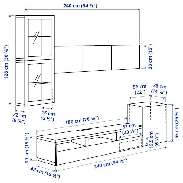 BESTÅ TV storage combination/glass doors, white/Selsviken high-gloss/beige frosted glass, 300x42x211 cm