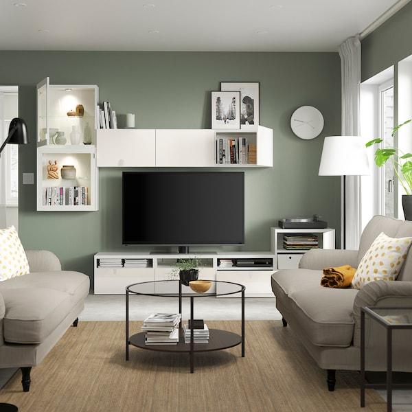 BESTÅ TV storage combination/glass doors, white/Selsviken high-gloss/white clear glass, 300x42x211 cm