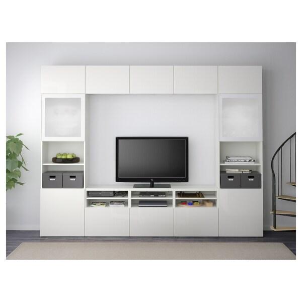 BESTÅ TV storage combination/glass doors, white/Selsviken high-gloss/white frosted glass, 300x40x230 cm