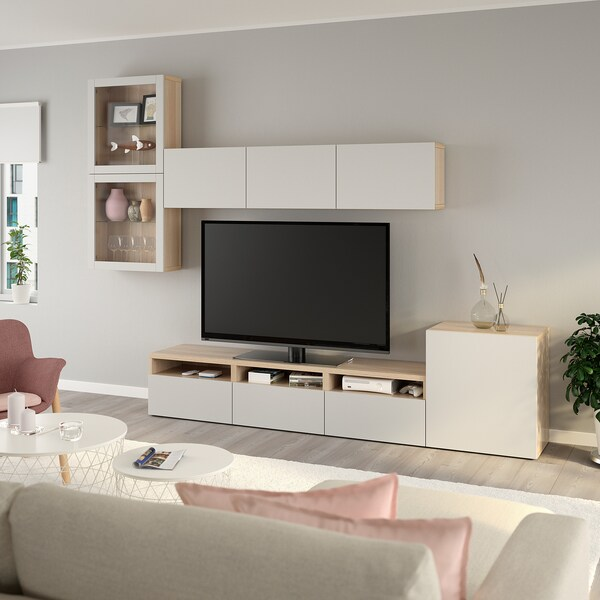 BESTÅ TV storage combination/glass doors, white stained oak effect/Lappviken light grey clear glass, 300x42x211 cm
