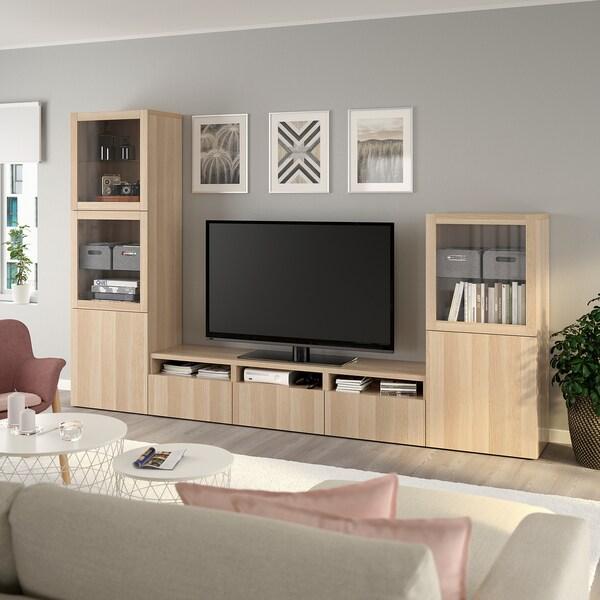 BESTÅ TV storage combination/glass doors, white stained oak effect/Lappviken white stained oak eff clear glass, 300x42x193 cm