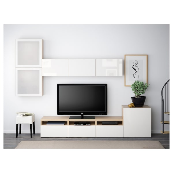 BESTÅ TV storage combination/glass doors, white stained oak effect/Selsviken high-gloss/white frosted glass, 300x42x211 cm