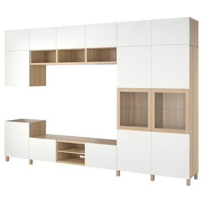 BESTÅ TV storage combination/glass doors, white stained oak veneer Lappviken/Sindvik clear glass, 360x42x240 cm
